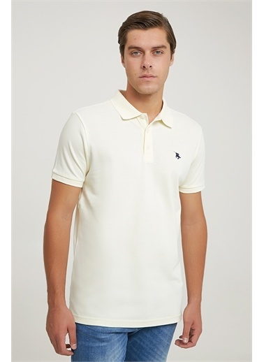D'S Damat Ds Damat Regular Fit Sarı Pike Dokulu T-Shirt Bej